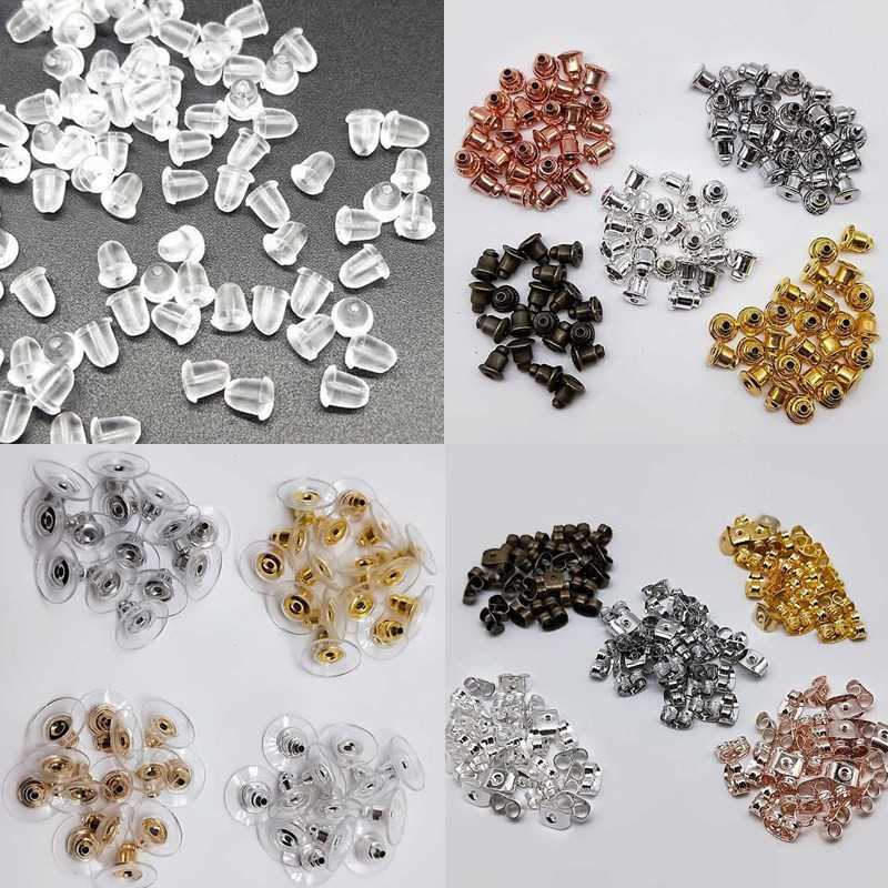 50/100pcs Cheap Jewelry Findings Metal Accessories Beads Ear Plugs Post Nuts Clear Soft Silicone Rubber Earring Backs Plug Cap