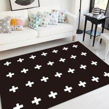 Нордическая гостиная прикроватный коврик для спальни-черный и белый крест