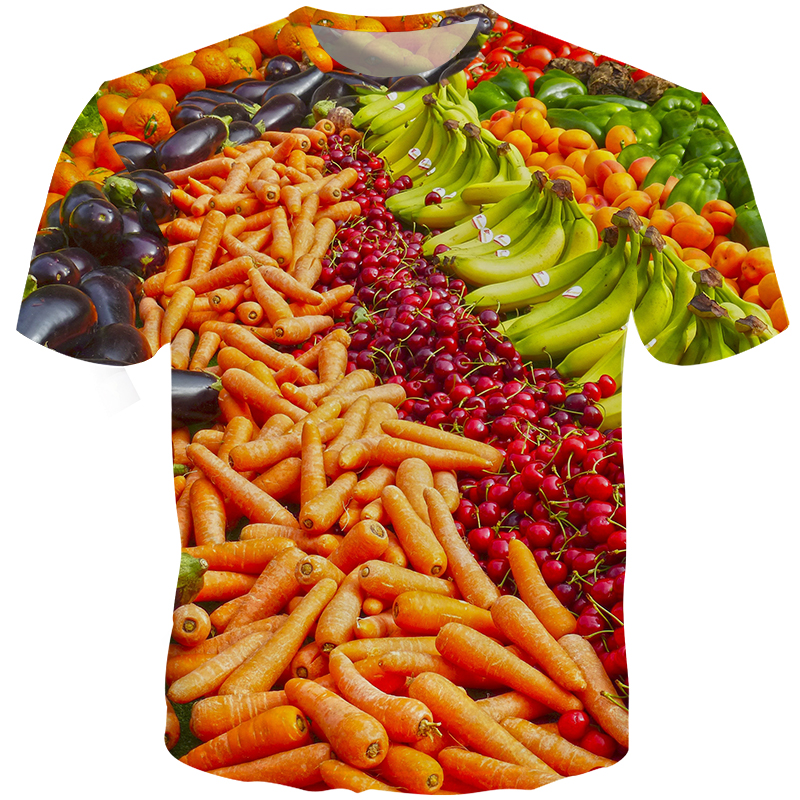 New Design 2019 Vegetables Men 3D T Shirts Slim Fit Carrot Banana Casual Custom Harajuku Plus Size S-5XL