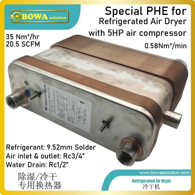 Ev Aletleri'ten Nem Parçaları'de 0.58Nm3/dak paslanmaz çelik plaka ısı değiştirici ön soğutucu ve ayırıcı için tasarlanmıştır hava kurutucu ile 5HP hava kompresörü title=