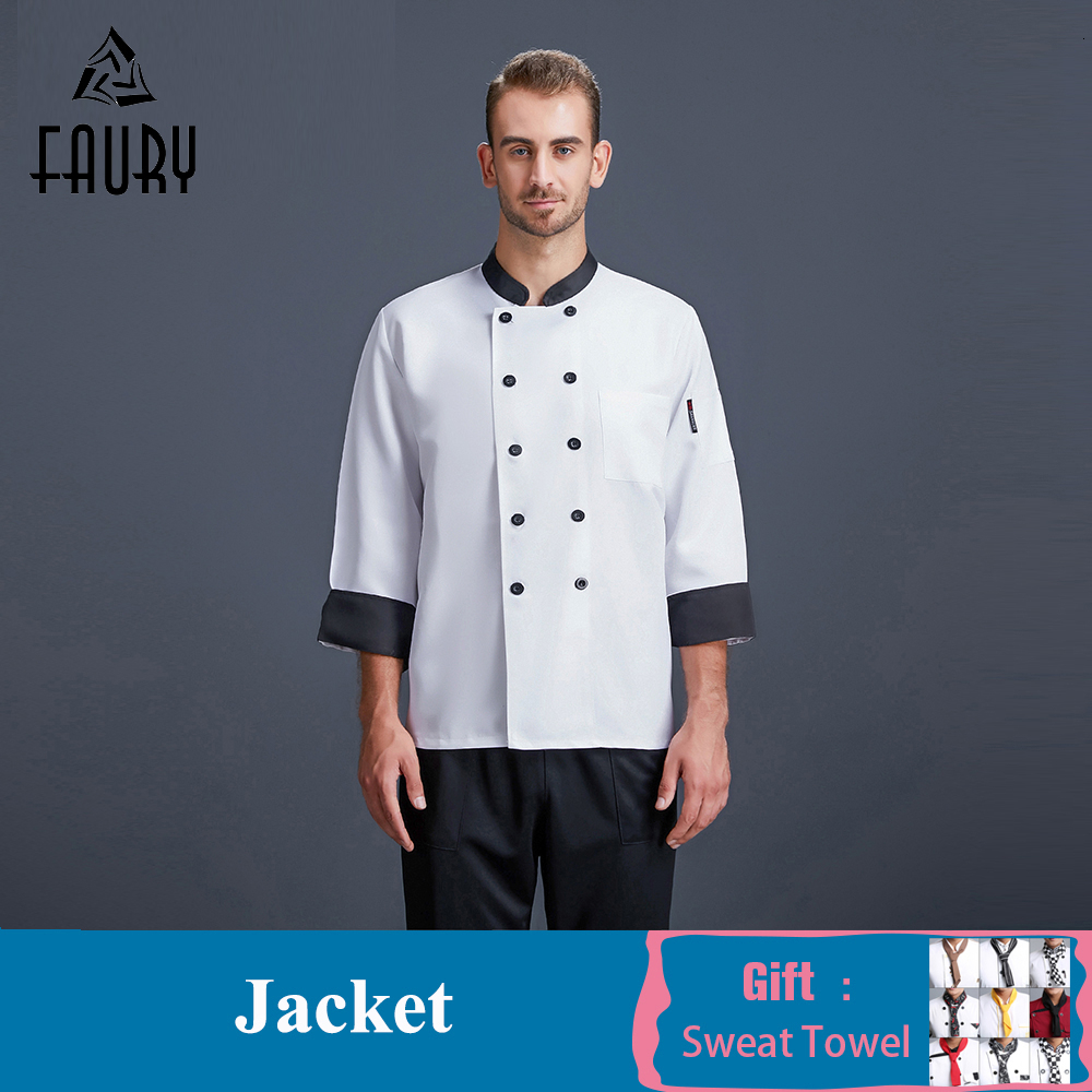 Men Women Double-breasted Chef Jacket Long Sleeve Restaurant Kitchen Uniform Barbershop Cafe Bakery BBQ Hotel Cook Clothes