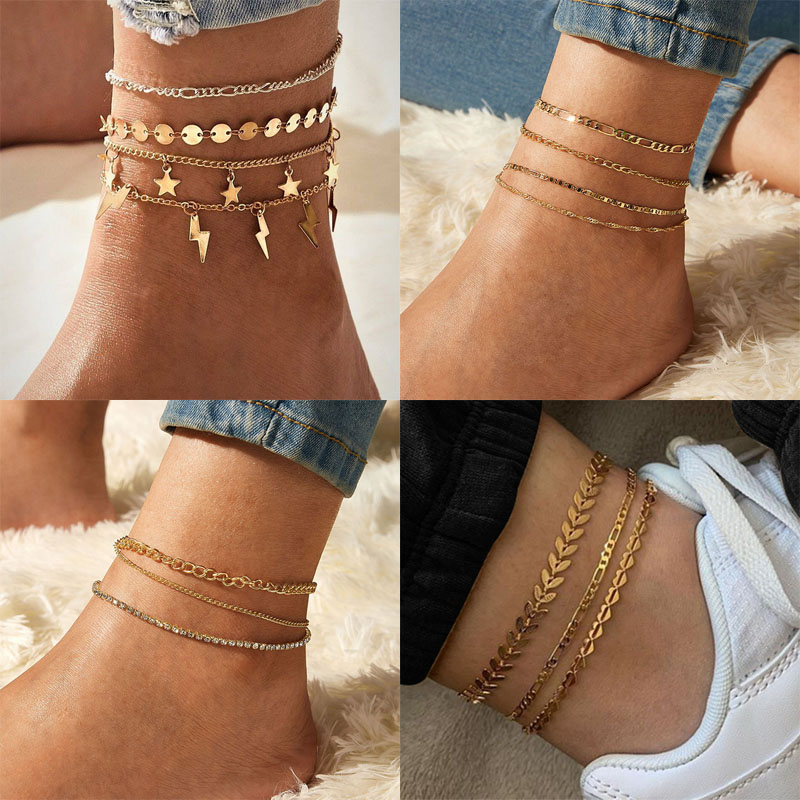 Vintage Bohemian Gold Color Anklets For Women,Summer Multi Layer Chain Beach Anklet Bracelet On Leg,2020 Female Fashion Jewelry