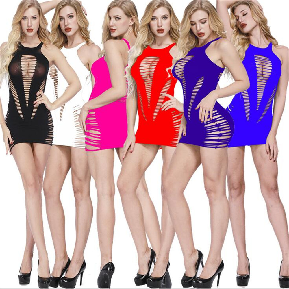 Sexy Lingerie Suspender Dress Two-Color One-Piece Mesh Clothing Exotic Dresses European And American Exotic Apparel