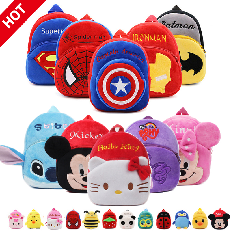 New Cute Hello Kitty Baby Plush Backpacks Soft Toy  Anime Marvels Spiderman Kids Bag Boy Gifts Toys  For Children