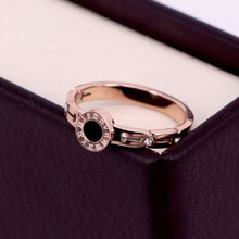 COLOGO Fashion Rings Woman Stainless Steel Black Roman Numerals Rose Gold Color Hollow Out Jewelry Gifts KA36