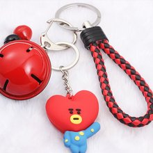 Kpop bts-bangtan boys BT21 Cute Cartoon Bell Keychain Bags Chain For Women Men Jewelry Bangtan Accessories Findings(China)