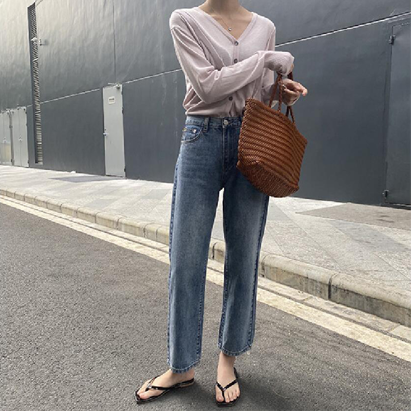 Spring Women's Jeans Casual Solid Color High Waist Straight Jeans