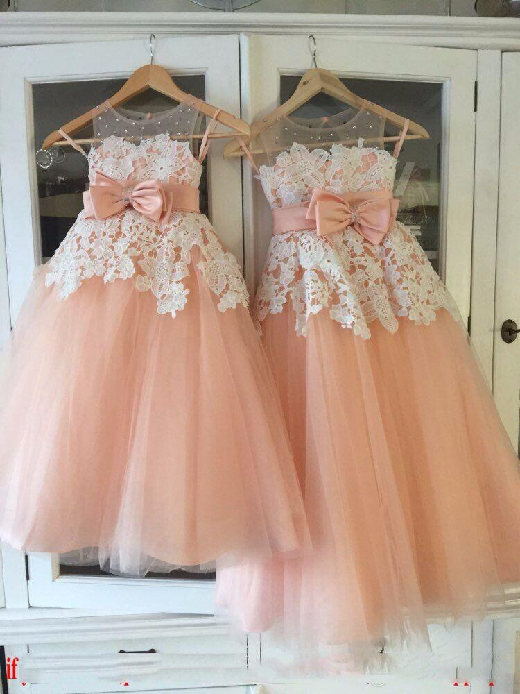 Sleeveless Crystal Floor Length Tulle Jewel 2018 Cute Kids Formal Wear Big Bow Sash Cute   Flower     Girl     Dresses
