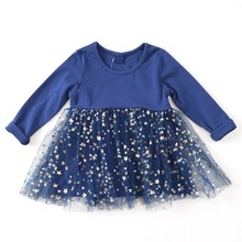 Autumn Fashion Baby Girls Patchwork Mesh Dress Long Sleeve Dresses Kids Toddler Pageant Sundress 0-5Y Newborn Girl
