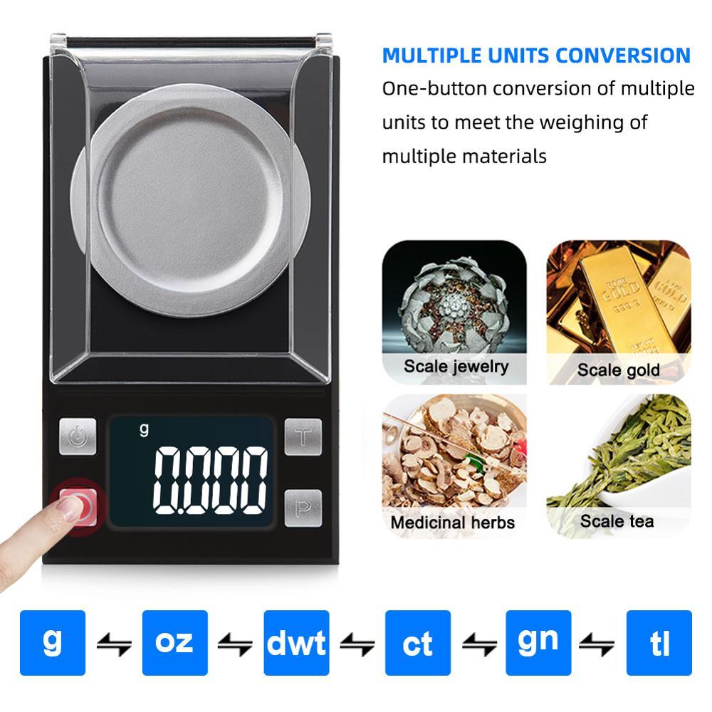 Электронные весы yieryi 100 г/50 г/20 г/10 г, 0,001 ЖК-цифровые весы для ювелирных изделий, лекарственных трав, портативные лабораторные весы с точностью в миллиграммах-3