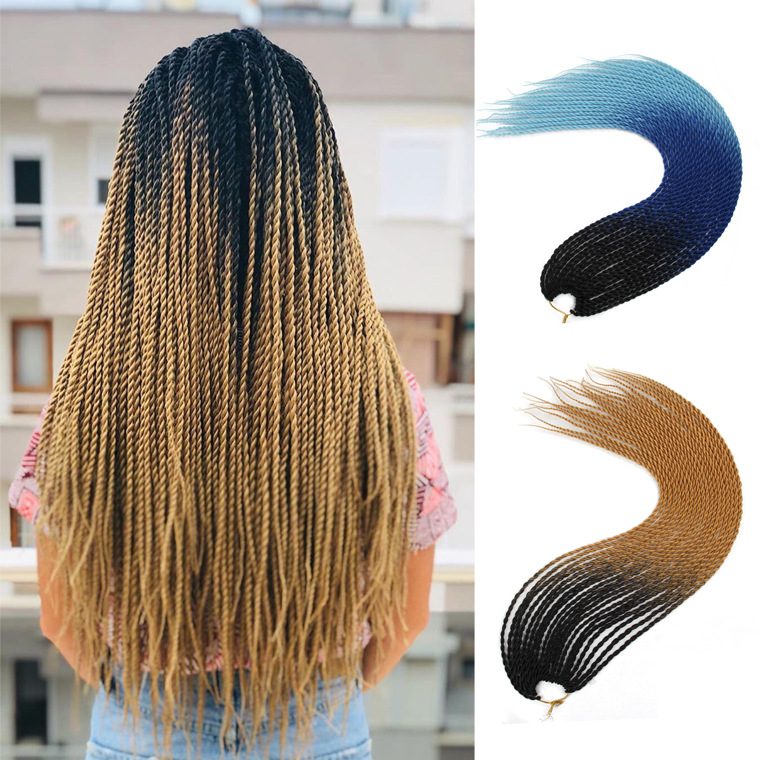 Ombre Braiding Hair Senegalese Twist Hair Extensions Synthetic Grey Blonde Colors Crochet Braids