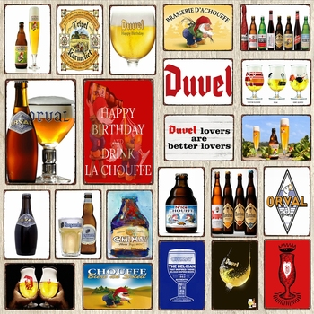 【YZFQ】Belgian Beer Metal signs Bottle Decorative Sign Plaque Vintage Wall Bar Home Art Retro Man Cave Decor 30X20CM DU-6187A dad s barbecue decorative signs beer bbq plaque metal vintage wall bar home art retro restaurant decor 30x20cm du 6034a
