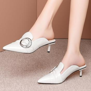 Karinluna New Arrivals High Quality Patent Leather Pointed Toe Mules Summer Women Shoes Woman Thin Heels Pumps Female