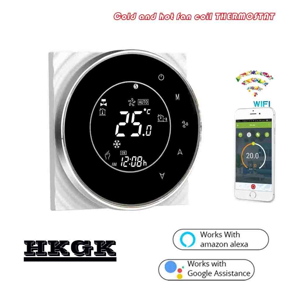24VAC,95~240VAC Tuya Fan Raumthermostat Wifi For 2P 4P Heat Cool Temp Refrigerator