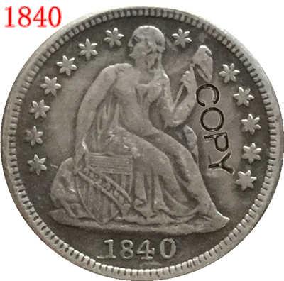 USA 1840 يجلس ليبرتي الدايم نسخة عملات