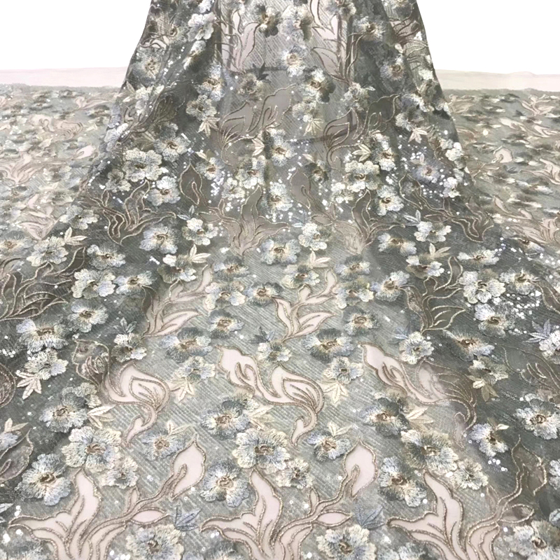 Fashionable Latest African Lace Fabric Wonderful Flower Embroidered With Sequins Best Tulle French Lace Fabric For Evening Dress