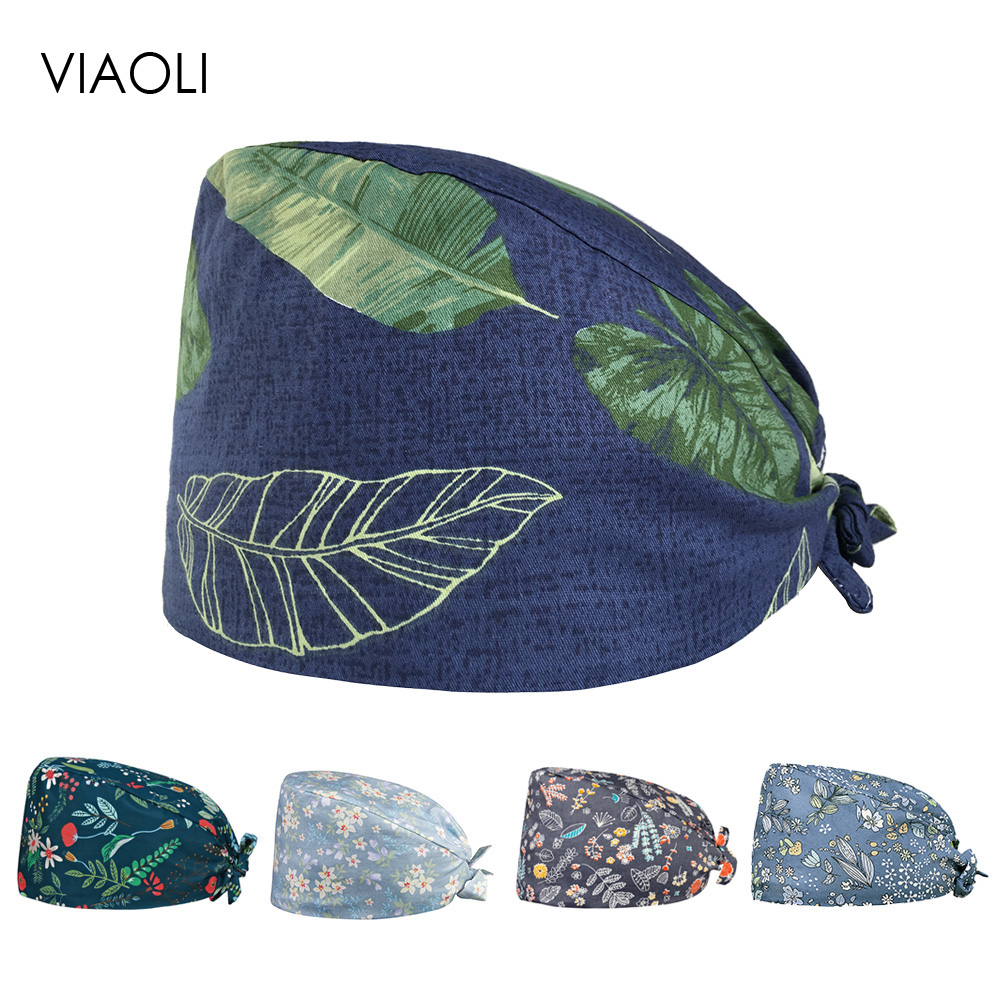 Viaoli Unisex Medical Doctor Work Hat Nurse Surgical Cap Floral Printing Beauty Salon Cap Scrub Lab Clinic Dental Operation Hat