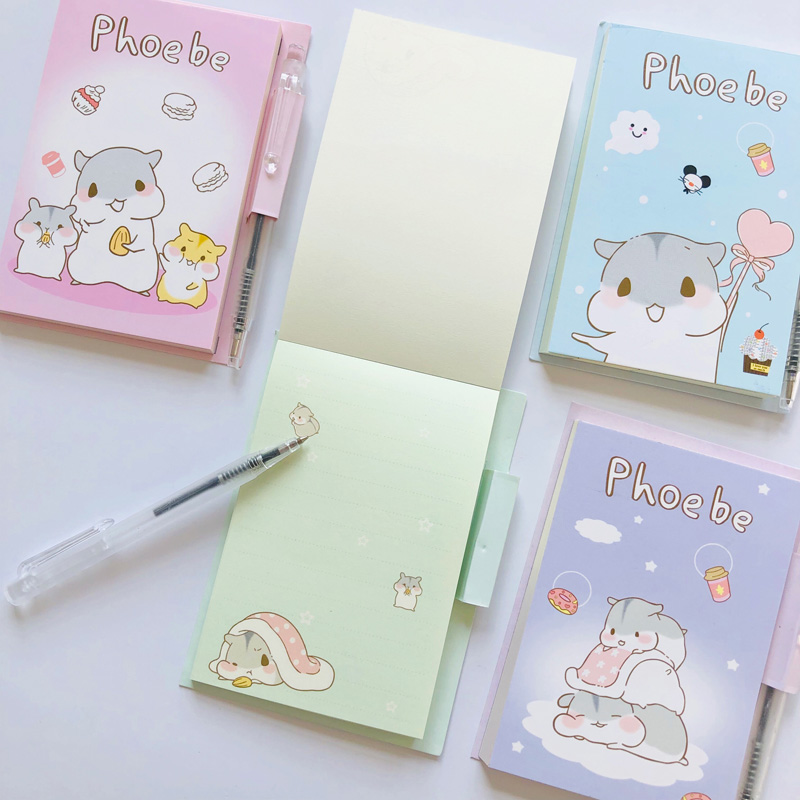 45 Sheets Kawaii Little Hamster Portable Memo Pad With Pen Stationery