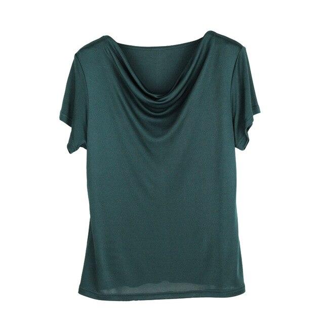 100% Pure Silk Women's T-Shirts Women Cowl Collar Wild Shirts Femme Short Sleeve Tops Woman Casual Tee Shirt Female T Shirts 3