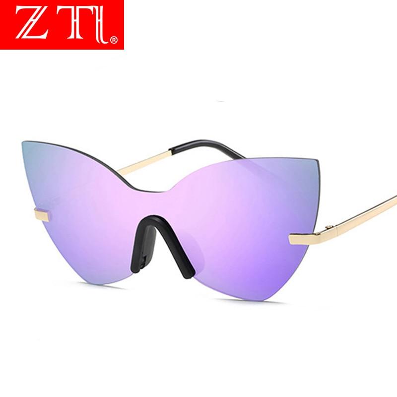 ZT Fashion Ladies Cateye Rimless Sunglasses Oversized Purple Women Reflective Mirror Lens Sun Glasses UV400 Lunettes De Soleil