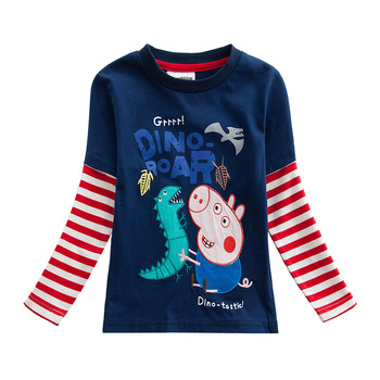 Original Peppa Pig Spring Autumn Cartoon Child Boy Long Sleeve T-shirt Height 80-130cm Page Dinosaur Embroidered long sleeve vintage lace overlay dress page 3 page 1