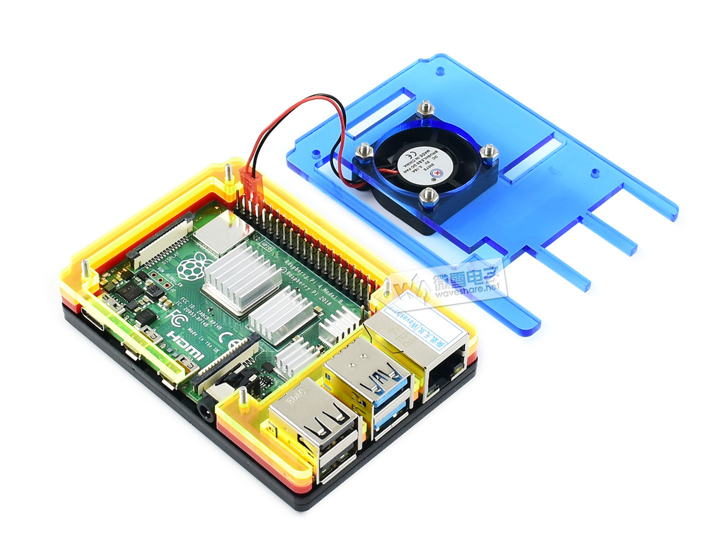 PI4-CASE-A Raspberry Pi 4 Case type A Colorful Rainbow Acrylic Case for Raspberry Pi 4, with Cooling Fan image