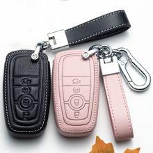 Carro de couro remoto inteligente chave fob capa para ford fusion mustang borda ecosport explorer f150 f250 2017 2018 2019 tampas chaves do carro