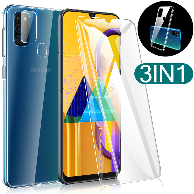 3-in-1 Camera Film + <font><b>Case</b></font> For <font><b>Samsung</b></font> Galaxy A50S <font><b>M30s</b></font> A20e A20s A30s A10s M30 A10 A20 A30 A50 S Tremp Safety <font><b>Glass</b></font> Full Cover image