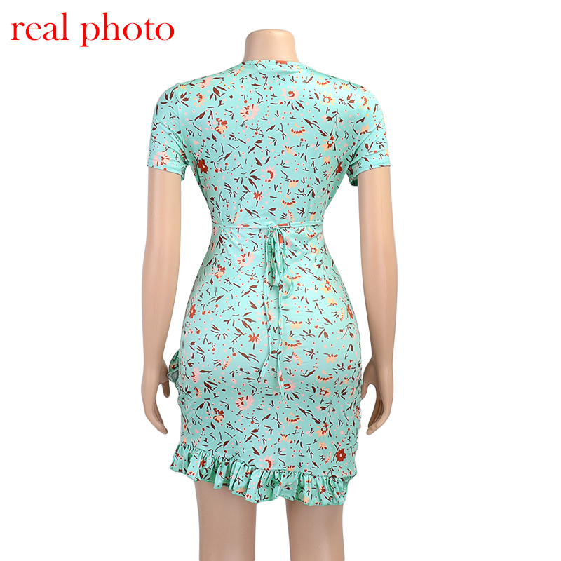 Cryptographic Floral Print Fashion Tie Up Wrap Mini Dress 2021 Summer Holiday Ruffles Sundress Ruched Women's Dress Short Sleeve