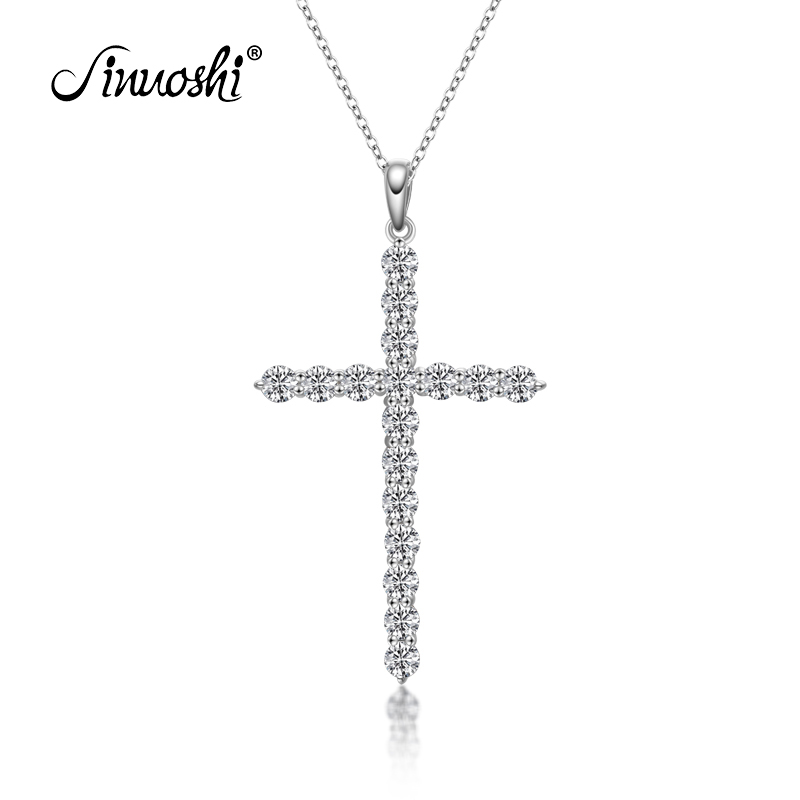 New Cross Simulated Sona Necklace Pendant 925 Sterling Silver Necklace Women Men Pendant Necklace for Lover