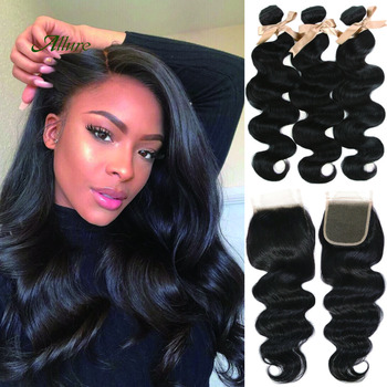 Body Wave Bundles With Closure Remy Peruvian Human Hair Weaves 3 4 Body Bundles With Frontal Hair Extension Free Shipping Allure image