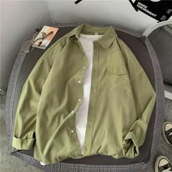 Осенняя рубашка, мужская Тонкая модная однотонная Повседневная рубашка, Мужская Уличная рубашка, мужская рубашка с длинными рукавами