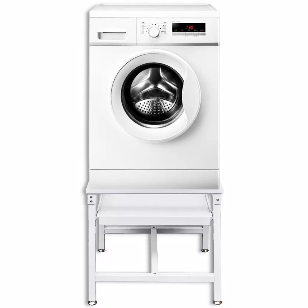 Washing Machine Pedestal With Pull-Out Shelf White Steel Load Capacity 100 Kg Suitable For All Standard Washing Machines