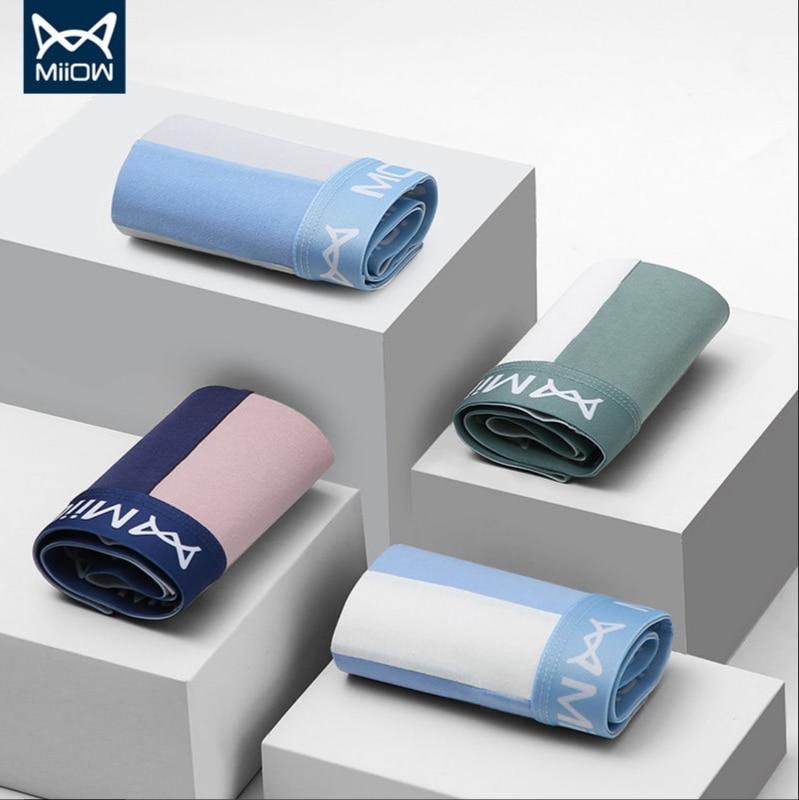 MiiOW Men's Underwear Cotton Underwear Men's Boxer Seamless Breathable Trend Personality Boxer Shorts Men