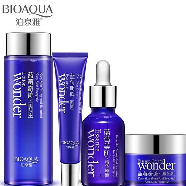 4 pièces/lot BIOAQUA myrtille soin de la peau blanchissant Toner + crème pour le visage + Essence pour le visage + crème pour les yeux hydratant hydratant Anti-rides