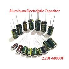 Condensateur électrolytique DIP en aluminium, 10 pièces, 10x17mm, 2.2UF-6800UF, 10UF, 400V, 16V, 1500UF, 50V, 2200UF, 160V, 100UF, 450V, 10UF