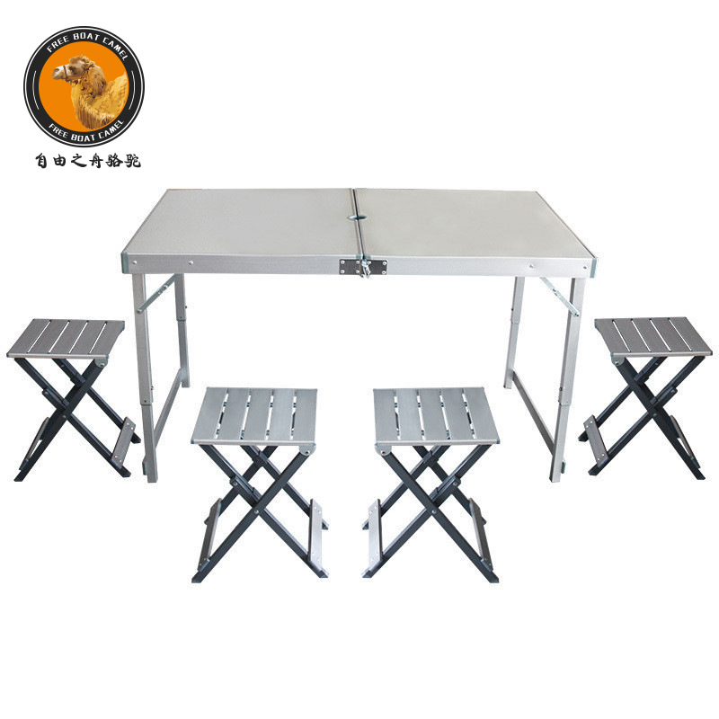Ziyouzhizhouluotuo Picnic Table Outdoor Tables And Chairs Combination Aluminum Alloy Folding Table And Chair Portable Barbecue D