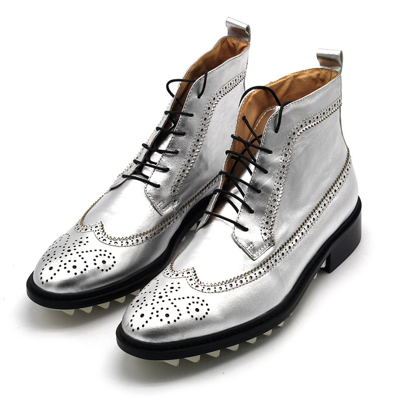 Genuine Leather Boots Men Bullock Lace Up Platform Ankle Shoes Design Casual Boots Autumn High Top Brogue Shoes Male