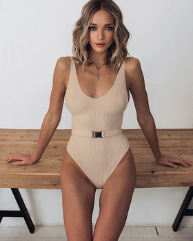 High Cut One Piece Bathing Suit With Buckle 12