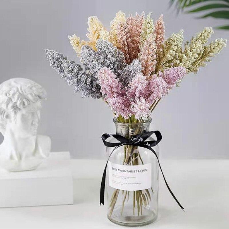 6 Pieces /Bundle Lavender Cheap PE Artificial Flower Plant Wall Decoration Bouquet Material Manual Diy Vases for Home Wholesale