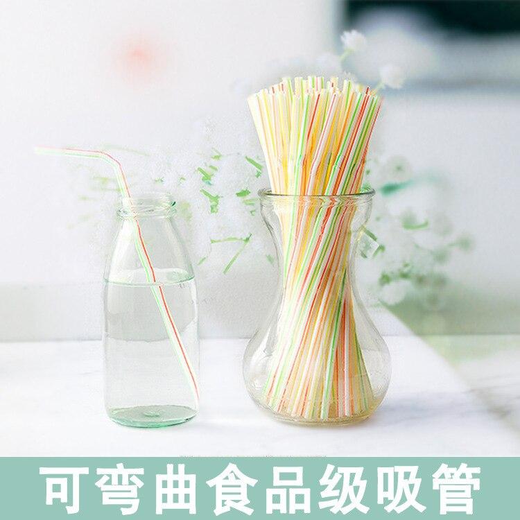 Одноразовые Цветные локоть пластиковые соломы удлиненные гибкие фруктовый сок напиток молоко чай соломы 100 штук-