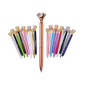 Image 1 - 40 pcs Metal Crystal Pen Diamond Wafer Ballpoint Pen 0.7mm Blue Writing Pen Student School Gift Ball Pen Like Beauty