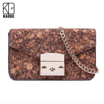 Natural Cork 2020 Fashion New Tote bag Quality   Women's Designer Handbag pattern Chain Shoulder Messenger Bag From Portugal