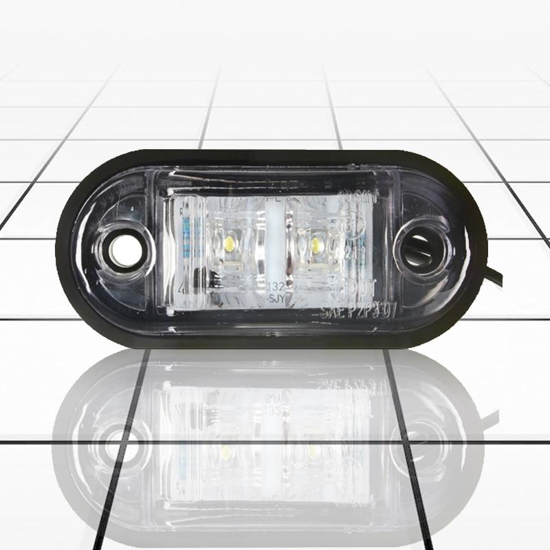 NEW-12V / 24V 2 LED Side Marker Lights Lamp For Car Truck Trailer E-marked White