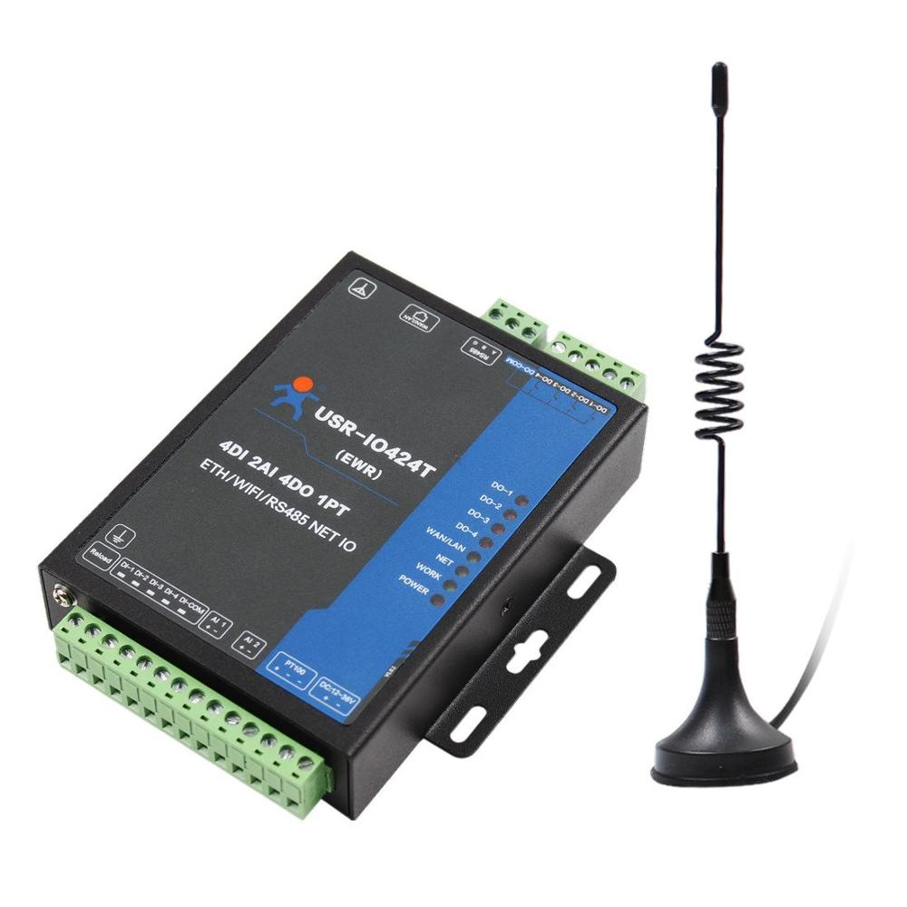 USR-IO424T-EWR 4 Channel Network IO Controller With WiFi And Ethernet Support WAN/LAN RS485 Serial Server Of 4DI/4DO/2AI/1PT
