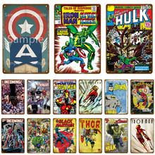 O incrível hulk cartaz em quadrinhos estanho sinal de metal placa decoração da parede homem caverna casa parede sala estar cozinha decoração yl017