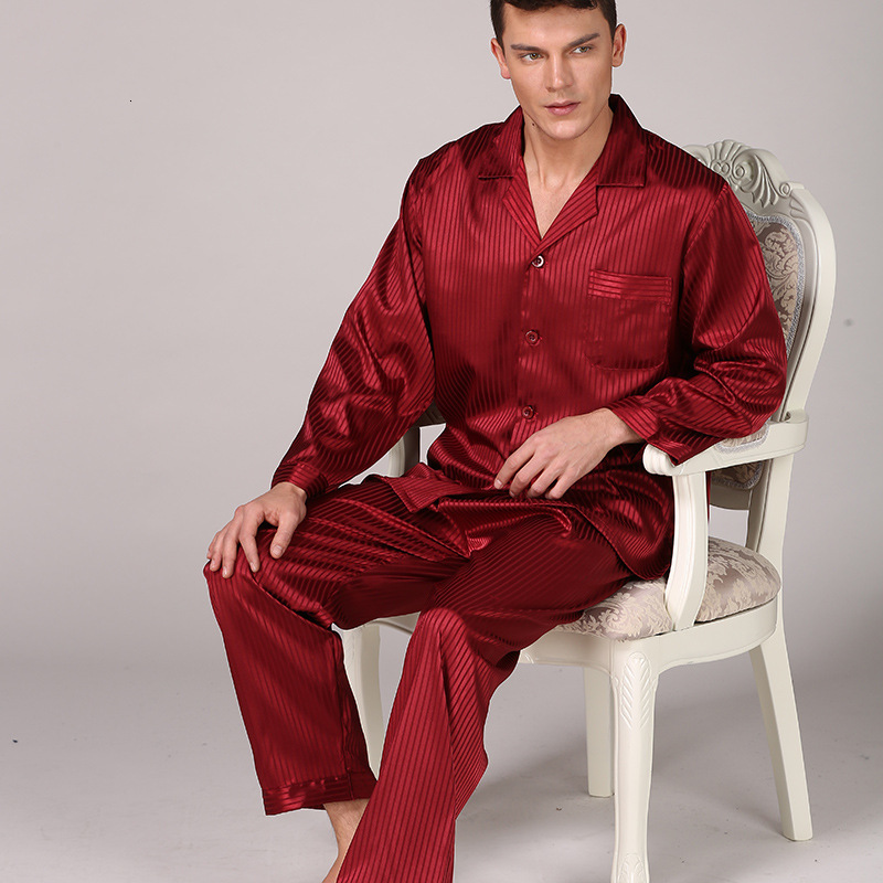 Men's Pajamas Set Silk Satin Long Sleeve Pyjamas Pijama Sleepwear Nightwear Male Loungewear Striped Home Wear Men Sleep Bottoms