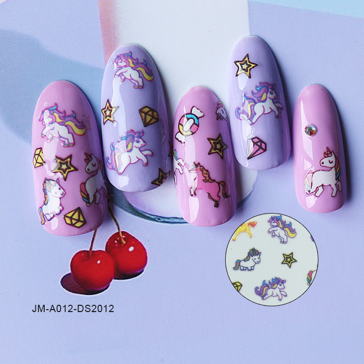 Joyme Unicorn Manicure Flower Stickers Children Nail Sticker Dreamy Candy Cute Decorative Sticker Currently Available Wholesale