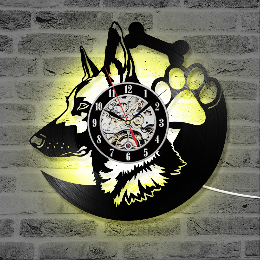 <font><b>12</b></font>' LEDs Wall Clock <font><b>7</b></font> Colors Retro Wall Mounted Timepiece Shepherd Dog Animal wall Clock Art Lover Gift for Home Cafe clockwork image