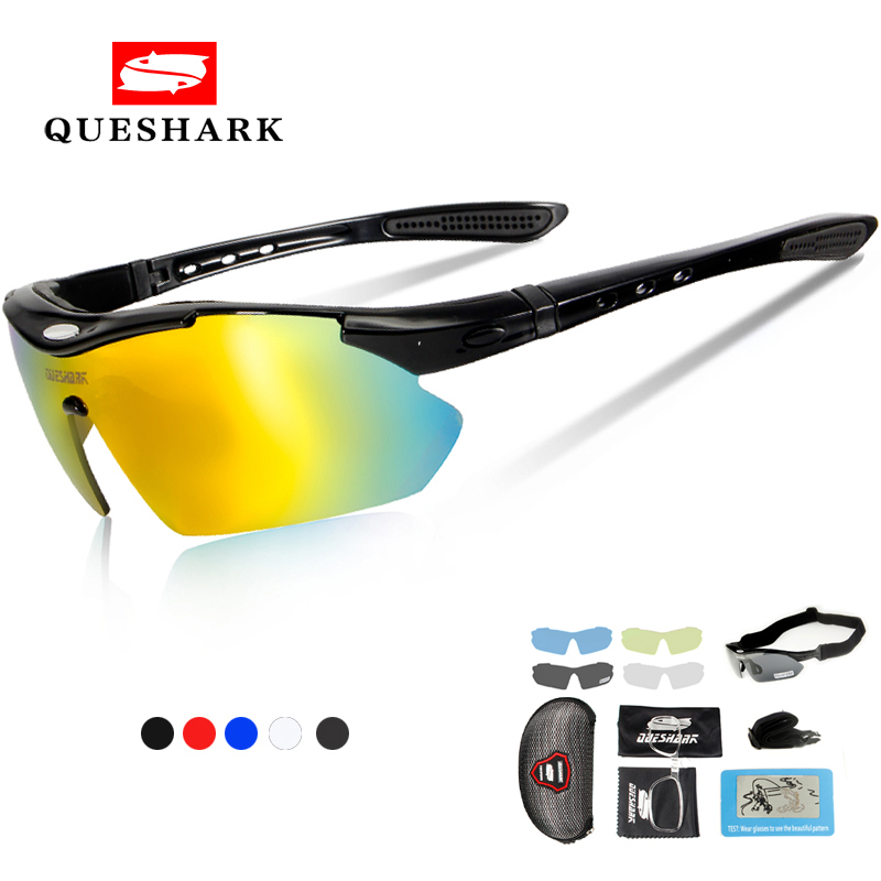 Queshark Polarized Cycling <font><b>Glasses</b></font> Sports Bicycle <font><b>Glasses</b></font> <font><b>Bike</b></font> Sunglasses Fishing Goggles Cycling Eyewear <font><b>5</b></font> <font><b>Lens</b></font>+Myopia Frame image